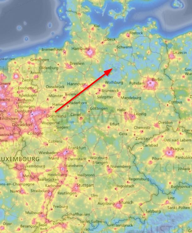 Lichtverschmutzung im Norden Sachsen-Anhalts.