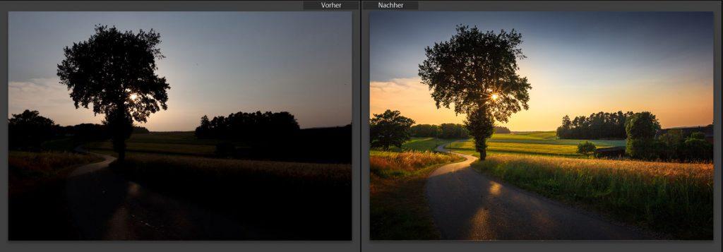 Ein Vorher- Nachher Foto meines Bildbearbeitungs- Workflows.